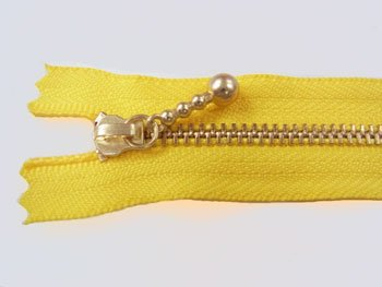 YKK 3G 玉付きファスナー 12cm ゴールド col.504 黄色