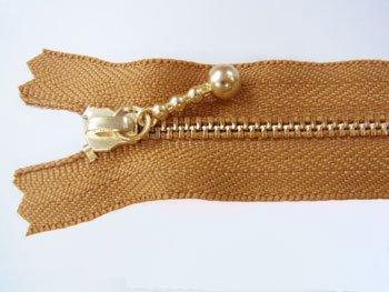 玉付きファスナー 10cm col.508 黄土色 10本セット ゴールド