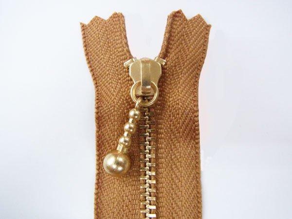 玉付きファスナー 10cm col.508 黄土色 10本セット ゴールド 【参考画像1】