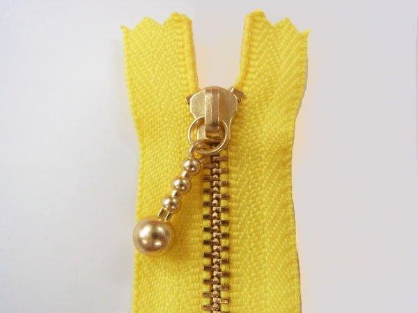 玉付きファスナー 10cm col.504 黄色 10本セット ゴールド 【参考画像1】