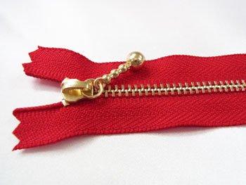 玉付きファスナー 10cm col.519 赤 10本セット ゴールド