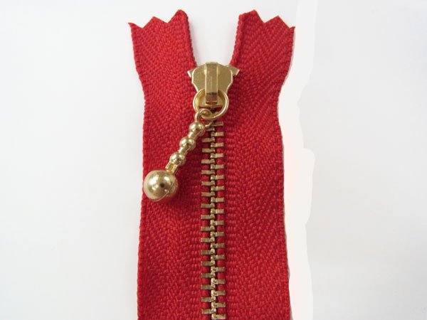 玉付きファスナー 10cm col.519 赤 10本セット ゴールド 【参考画像1】