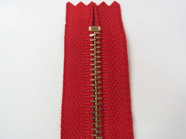 玉付きファスナー 10cm col.519 赤 10本セット ゴールド 【参考画像2】