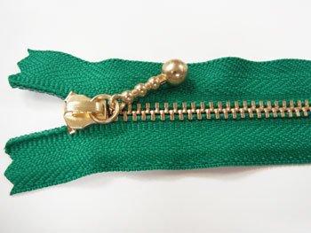 玉付きファスナー 10cm col.540 緑 10本セット ゴールド