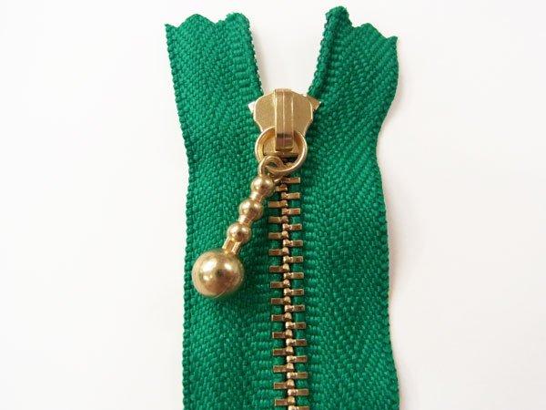 玉付きファスナー 10cm col.540 緑 10本セット ゴールド 【参考画像1】