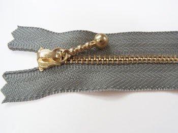 玉付きファスナー 10cm col.577 グレー 10本セット ゴールド