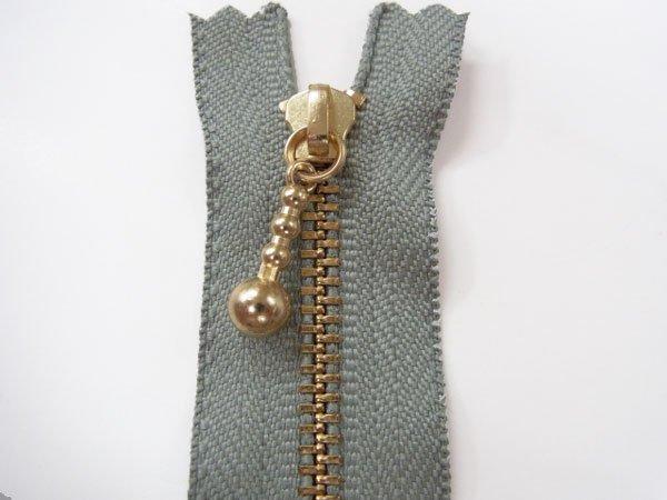 玉付きファスナー 10cm col.577 グレー 10本セット ゴールド 【参考画像1】