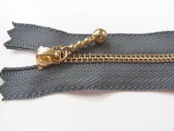 玉付きファスナー 10cm col.578 濃グレー 10本セット ゴールド