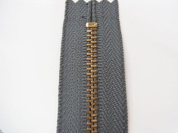 玉付きファスナー 10cm col.578 濃グレー 10本セット ゴールド 【参考画像2】