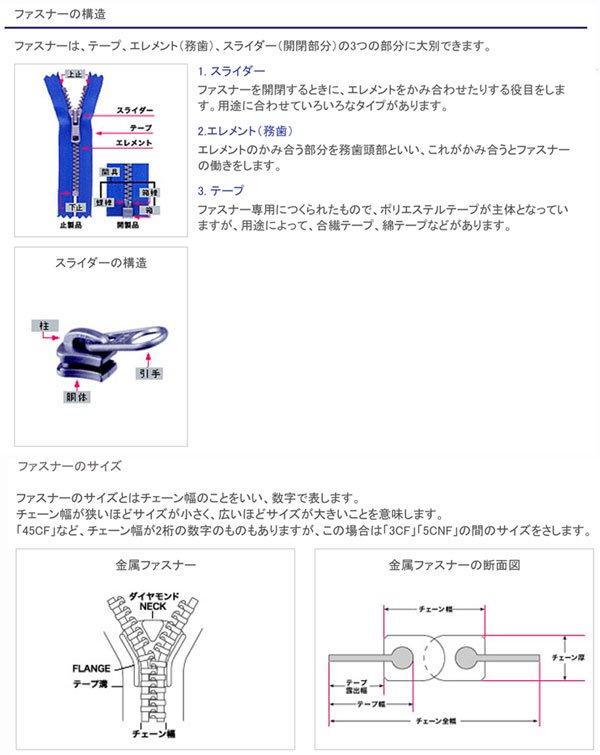 YKK 3G 玉付きファスナー 20cm ゴールド 【参考画像5】
