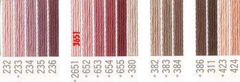 コスモ 刺繍糸セット 25番 col.232〜424x各1束 20色セット 茶系 1