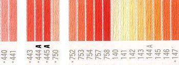 コスモ 刺繍糸セット 25番 col.440〜147x各1束 21色セット オレンジ系 2