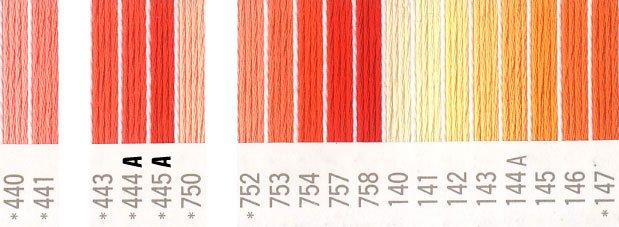 コスモ 刺繍糸セット 25番 col.440〜147x各1束 21色セット オレンジ系 2 【参考画像1】