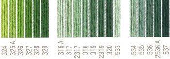 コスモ 刺繍糸セット 25番 col.324〜537x各1束 21色セット 緑系 2