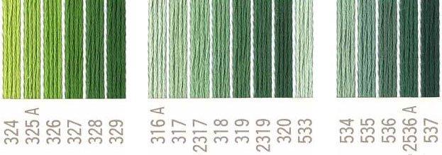 コスモ 刺繍糸セット 25番 col.324〜537x各1束 21色セット 緑系 2 【参考画像1】