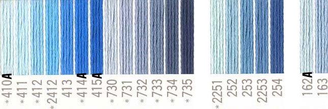 コスモ 刺繍糸セット 25番 col.410〜163x各1束 22色セット 青系 1 【参考画像1】
