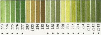 オリムパス 刺繍糸セット 25番 col.273〜2013x各1束 20色セット 緑・黄緑色系 2-1