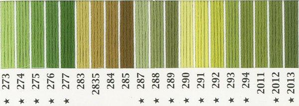 オリムパス 刺繍糸セット 25番 col.273〜2013x各1束 20色セット 緑・黄緑色系 2-1 【参考画像1】