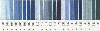 オリムパス 刺繍糸セット 25番 col.301〜344x各1束 23色セット 青・水色系 1-1