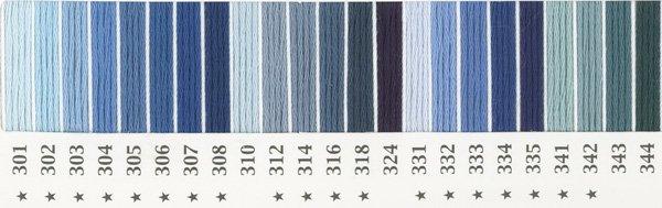 オリムパス 刺繍糸セット 25番 col.301〜344x各1束 23色セット 青・水色系 1-1 【参考画像1】