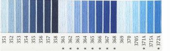 オリムパス 刺繍糸セット 25番 col.351〜372Ax各1束 22色セット 青・水色系 1-2