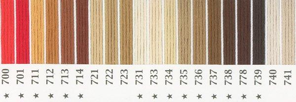 オリムパス 刺繍糸セット 25番 col.700〜741x各1束 20色セット 茶・白黒系 1-1 【参考画像1】