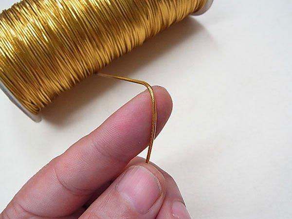 ラメゴム 中 ゴールド 金 直径約1.2mm 大巻・ボビン巻 300m乱 【参考画像2】