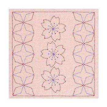 オリムパス 花ふきん 刺し子キット 桜と角七宝 渋ピンク