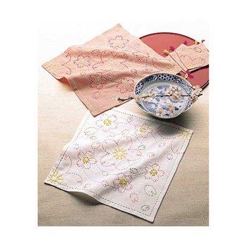 オリムパス 花ふきん 刺し子キット 水辺の桜 白 渋ピンク