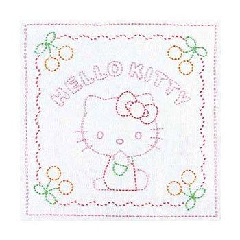 オリムパス 花ふきん 刺し子キット サンリオ ハローキティとさくらんぼ 白