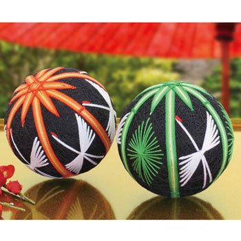 オリムパス 手まりキット 朱竹と鶴 若松と竹 お正月などの縁起ものの飾りに