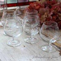 送料込!フランスアンティーク エッチングガラス ワイングラス 6客セット フランス
