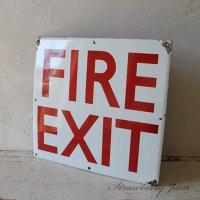 送料込!英国アンティーク サインプレート 大 FIRE EXIT TIN  イギリス 非常口