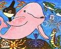 絵っ版画?!<BR> 「シロイルカと海の仲間達」<BR>(画:吉田圭佑)