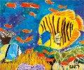 絵っ版画?!<BR>「熱帯魚」(画:田中丈晴)