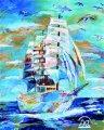 絵っ版画?!<BR>「白い帆船」(画:Akiko)