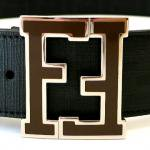 FENDI COLLEGE LOGO BELT(BLACK/BROWN SILVER LOGO)/フェンディ カレッジ ロゴ ベルト
