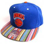 Mitchell & Ness SnapBack Cap NATIVE STRIPE CANVAS New York Knicks(Blue)/ミッチェル&ネス ニックス