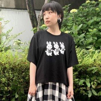 ▼SPACE×せなけいこ にんじん うさぎビッグTシャツ レディース モノクロ▼