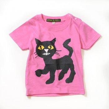 ▼SPACE×せなけいこ - 「ねないこだれだ」 くろねこベビーTシャツ ピンク▼