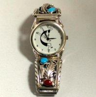 ココペリの腕時計 ターコイズ&レッドコーラル