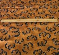 ココペリ柄の布 キャメル色地×黒色のココペリ