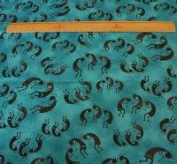 ココペリ柄の布 ダークブルー地×黒色のココペリ