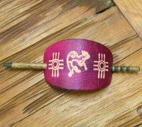 ココペリのバレッタ  革製の棒差しタイプ