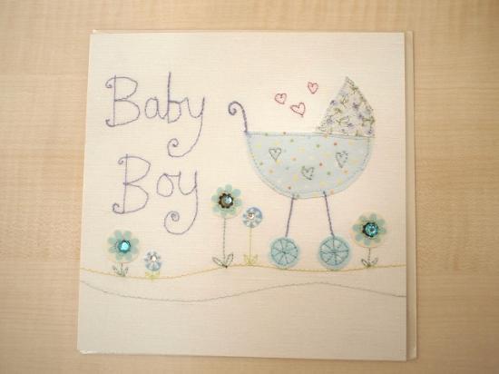 *刺繍アップリケ柄 * 出産お祝いカード 【Baby Boy1】