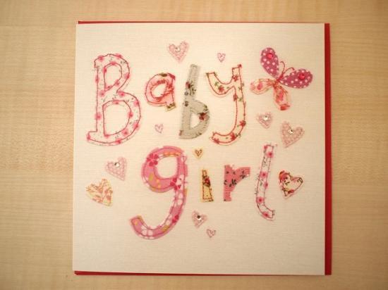 *刺繍アップリケ柄 * 出産お祝いカード 【Baby Girl】