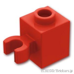 ブロック 1 x 1 - クリップ(垂直用) 凹スタッド:[Red / レッド]