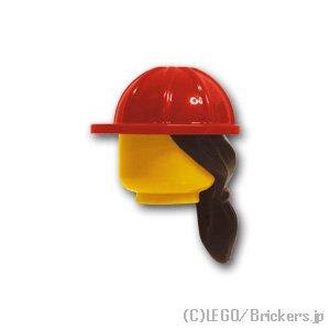 工事ヘルメットとダークブラウンのポニーテール:[Red / レッド]
