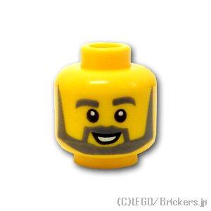 ミニフィグ ヘッド - ダークグレーのラウンドひげの笑顔