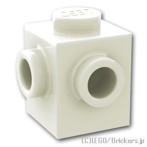 ブロック 1 x 1 - 2面スタッド 隣接:[White / ホワイト]